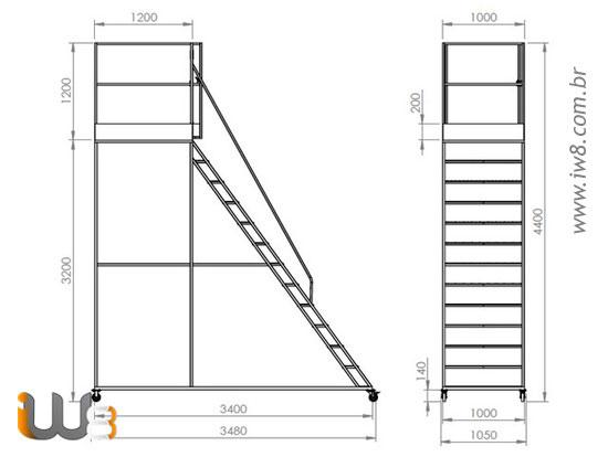 Escada Multifuncional com Guarda Corpo