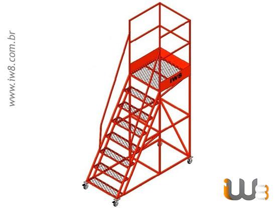 Escada Plataforma 7 Degraus com Guarda Corpo
