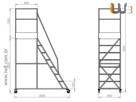 Escada Plataforma 7 Degraus com Rodas