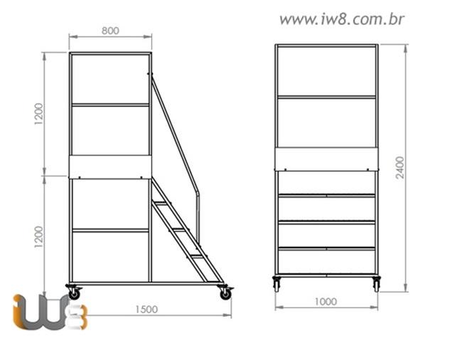 Escada Plataforma de Ferro 1,2 metros
